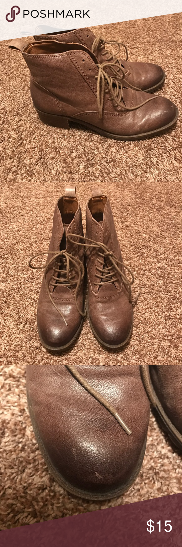 Lucky Brand Combat Boots Never worn. Bought from TJ Maxx. A few scratches as shown in photos that were there when I bought them. Lucky Brand Shoes Combat & Moto Boots