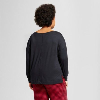 ba1d2290843 Women s Plus Size Sleep Sweatshirt - Ava   Viv Black 1X