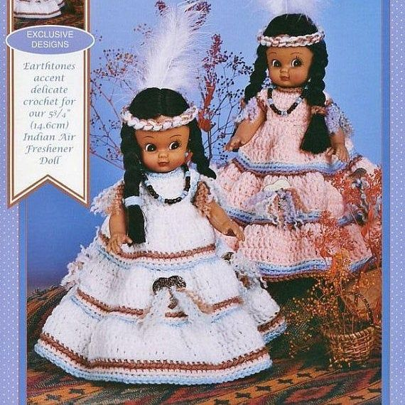 Vintage Crochet Patterns Fawn Indian Princess Dress Outfits for 5.75 Air Freshener or 6 Dolls PDF Instant Digital Download 5 Ply