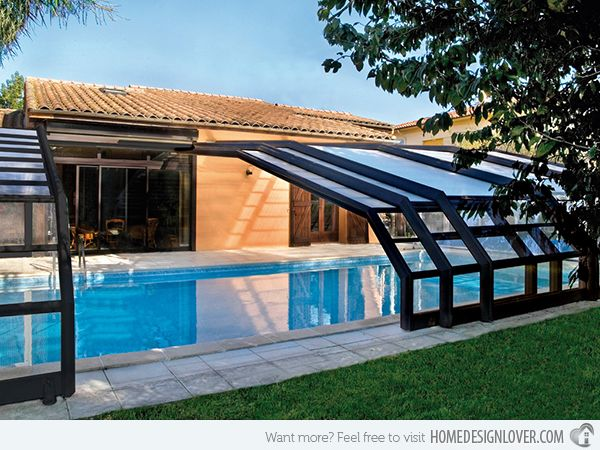 15 Stylish Pool Enclosure For Year Round Pool Usage Home Design Lover Indoor Pool Design Pool Houses Indoor Outdoor Pool