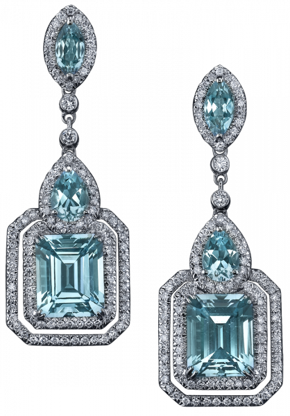 8f1ce7cc144e02 ... hues of Blue Topaz are beautifully framed by white diamonds in these  Deco-influenced earrings of white gold. Robert Procop Exceptional Jewels.