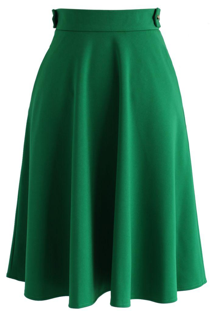 3d5ce4c06 Falda Básica Línea A en Color Verde Esmeralda - Bottoms - Retro ...