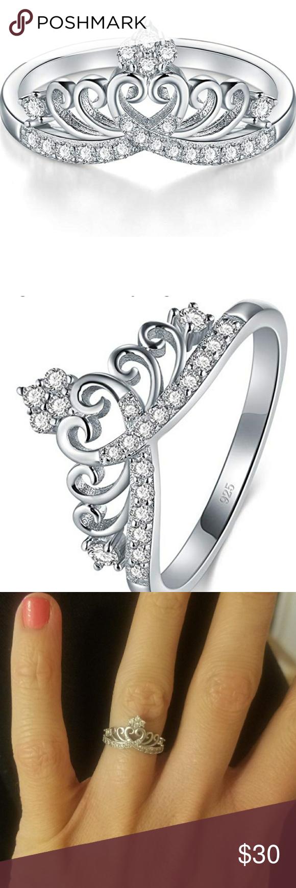 925 Sterling Silver Princess Crown ring Beautiful crown