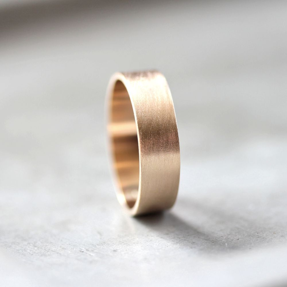 men's gold wedding band, 6mm wide brushed flat 10k recycled yellow