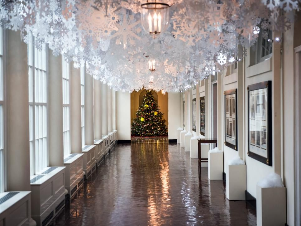 As Part Of First Lady Michelle S Reach Higher Initiative A Collection Hand Cut Paper Snowflakes Hang From The Ceiling East Colonnade