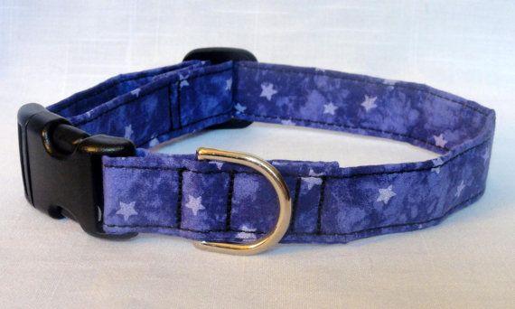 Purple Stars Dog Pet Collar Red CUTE Designer Custom by craftytagz