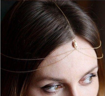 Encontrar Más Joyas para Cabello Información acerca de 1 unid boho encanto  diseño dorado cadena de la cabeza topacio crystal hairband accessroies pelo  de la ... e80afb21f697