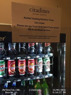Alcohol vending machine.   .Citadines-hotel Alcohol Food-And-Drinks hotel Melbourne Tourism Vending-Machines