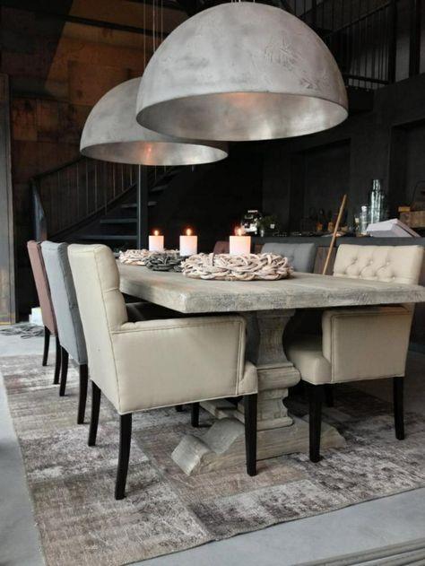 esstisch lampen-graue-stühle Einrichtung Pinterest Industrial