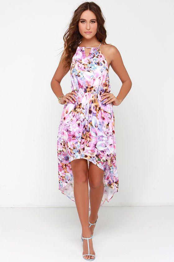 af0542f0c18 Cocktail Dress - Sundress - Mink Pink My Sweet Garden Pink Floral Print  High-Low Dress at Lulus.com!