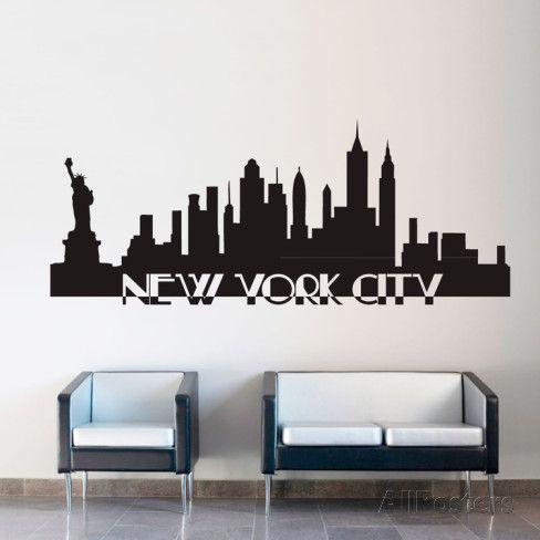 New York City Skyline Black Wall Decal Wall Stickers New York City Wall Art Black Walls