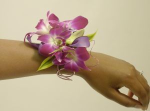 wire cuff with pink orchids