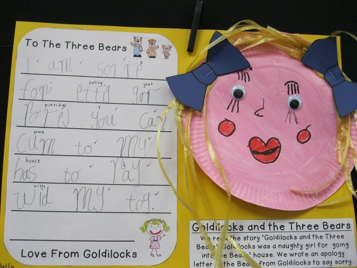 Goldilocks Apology Letter Plus Craft    Primary Book Activities