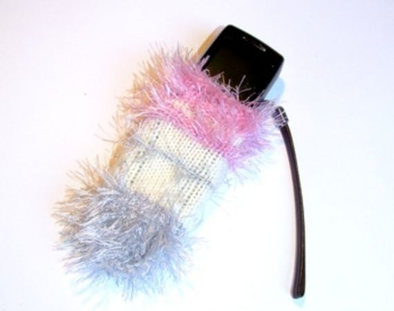 Sock pouch for cell phone.  Recycle idea.