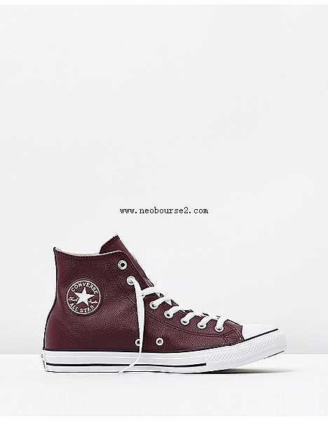 5a3f4f85475 Converse Chuck Taylor All Star læder hi herre sko dyb bordeaux, sort-hvid