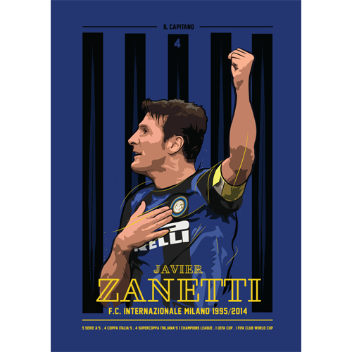 Javier Zanetti Illustration Now Available As A Print Via
