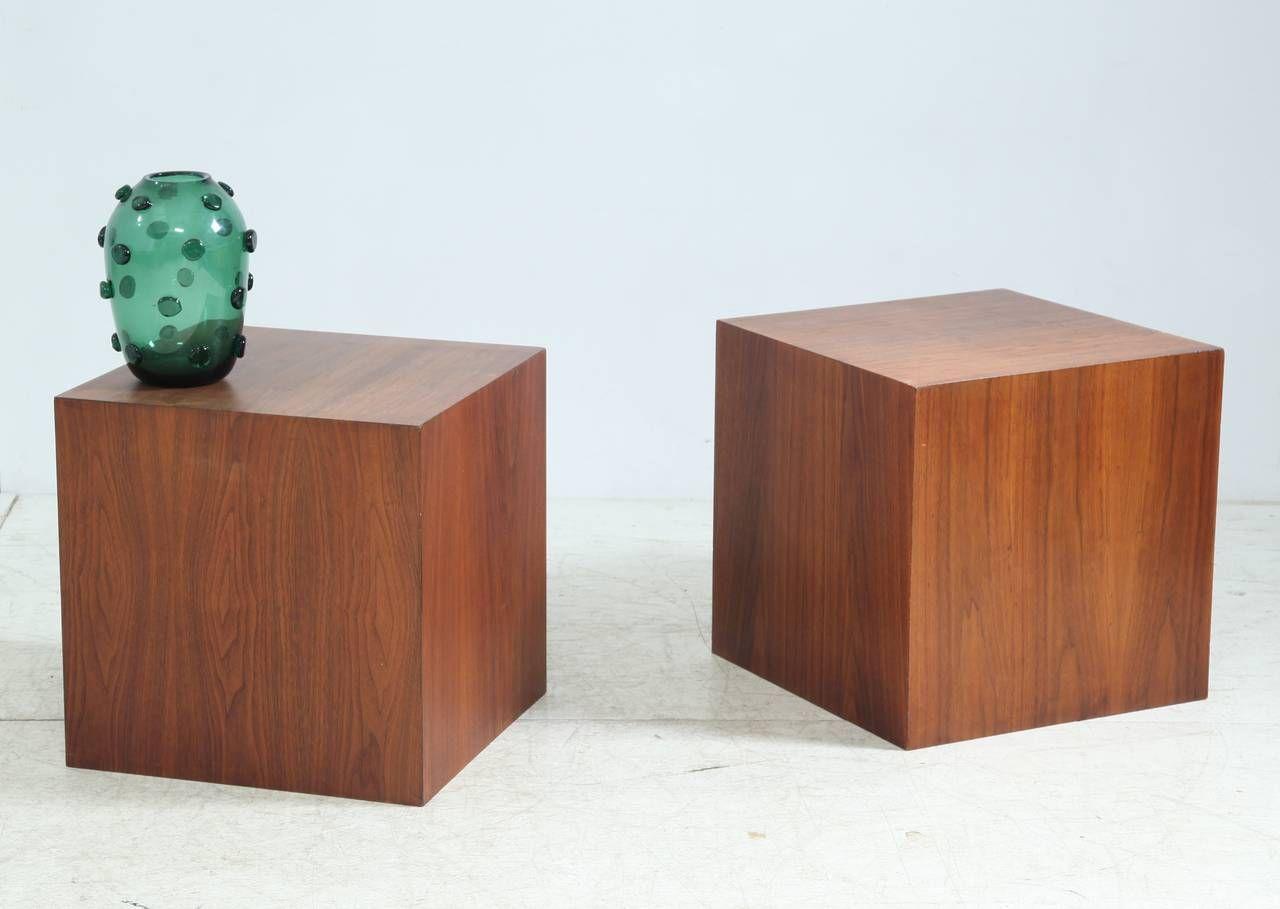 Walnut Cube Shaped Coffee Tables by Milo Baughman