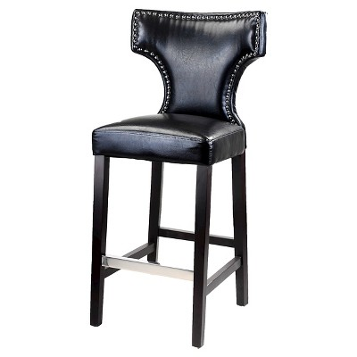 Kings Studded Bonded Leather 31 Barstool Black Set Of 2 Corliving Bar Stools Black Bar Stools Cool Things To Buy