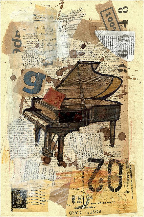Piano Song  Autographed In original by Author    PRINT OF Original Ink Drawing and Mixed Media Collage Signed by the artist AUTHOR OF ARTWORK: Emanuel M.