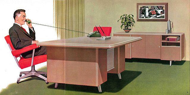 Retro Office Desks. Executive Decision Maker Illustration From Mode Maker  Metal Business Furniture Catalog