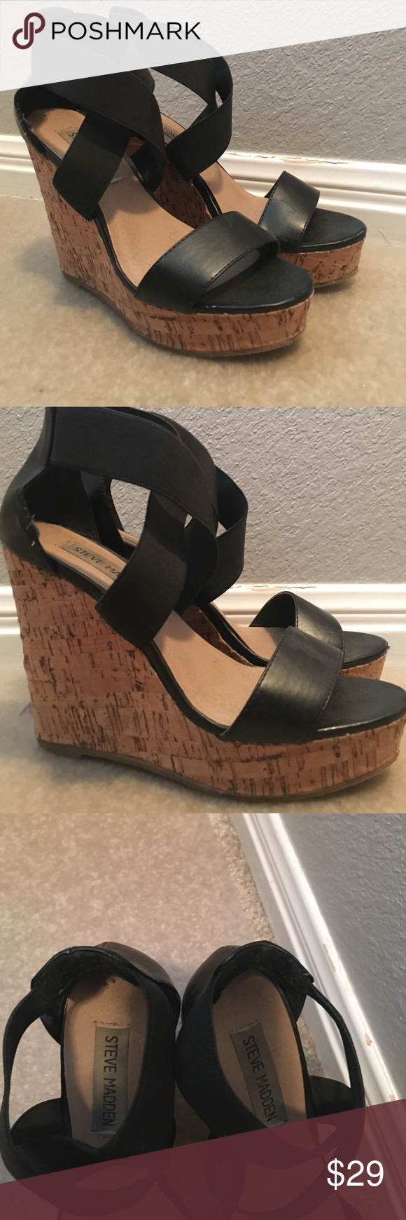 STEVE MADDEN WEDGES Elastic straps! GREAT CONDITION Steve Madden Shoes Wedges
