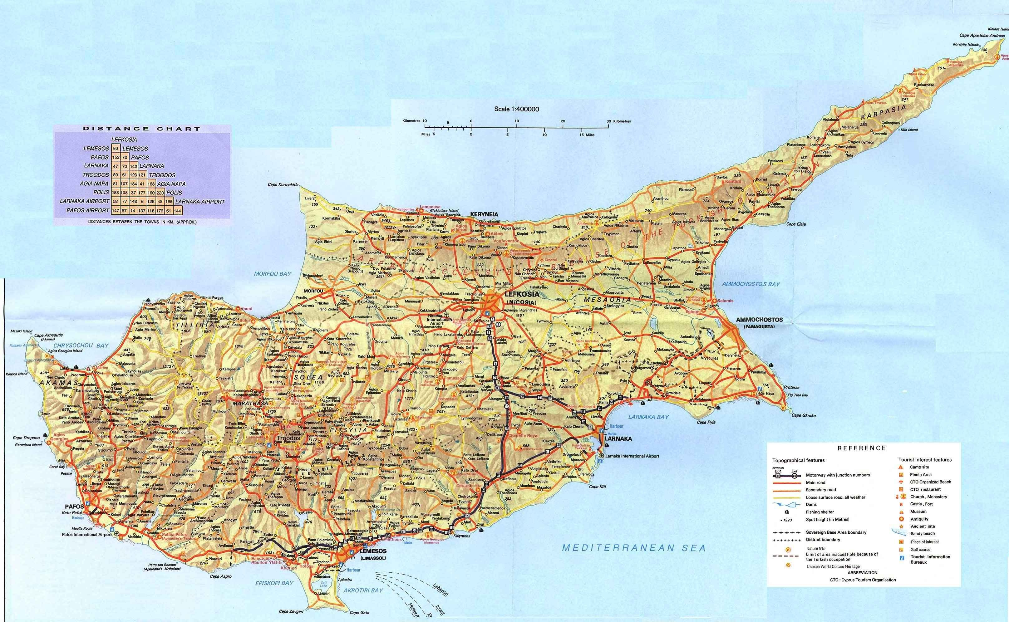 cyprus large scale map small scale map pinterest