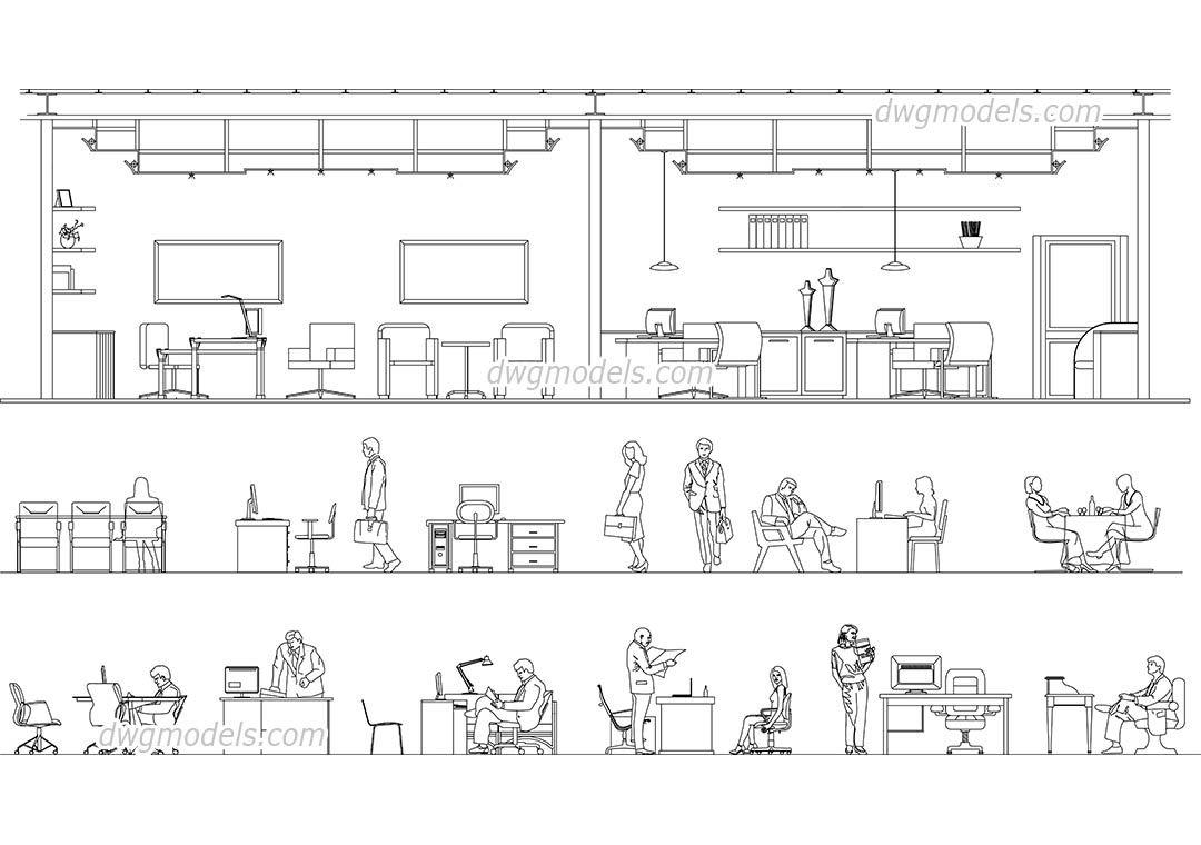 People office work CAD Blocks, free dwg file. Urban