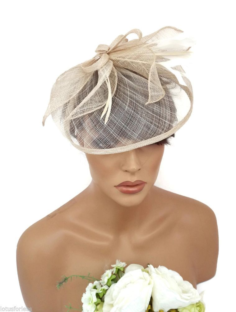bdc0fb4dba2a5 Stunning Cream Beige Bow Mesh Hat Hatinator Fascinator Hair Clip ...