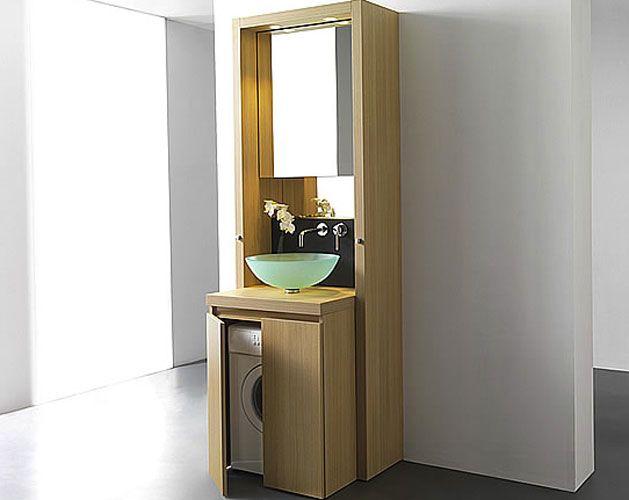 Un meuble bain astucieux pour cacher le lave-linge Bungalow, Tiny - prise de courant dans salle de bain