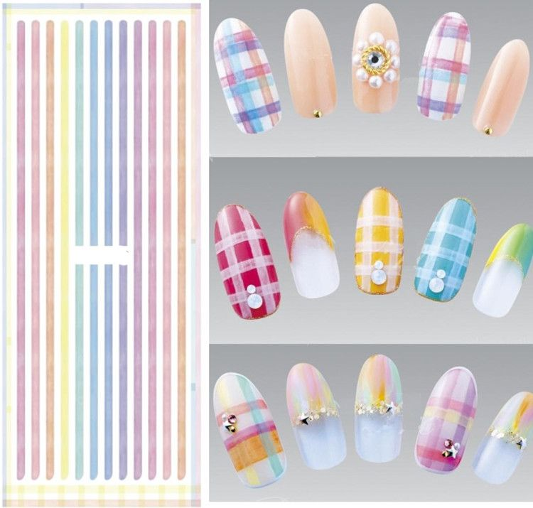 Stripe Letters Pattern Decorations Nail Art Diy Fashion Stickers