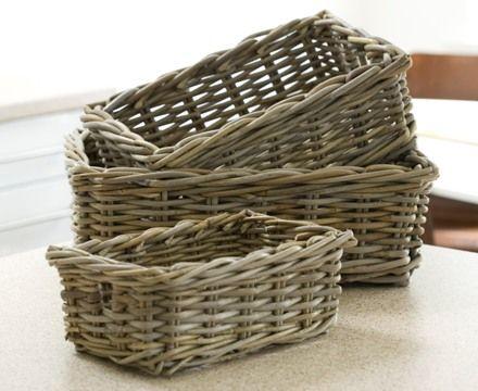 Medium Buff Wicker Pantry Basket   Wicker Basket | Wicker Vegetable Baskets  | Seagrass Storage Box | Wicker Stair Basket