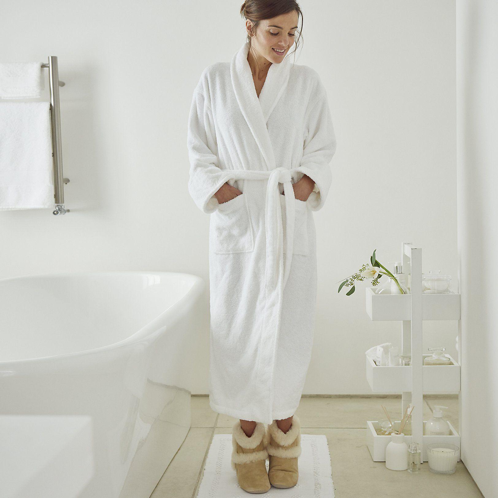 Unisex White Classic Robe | Robes & Slippers | Nightwear ...