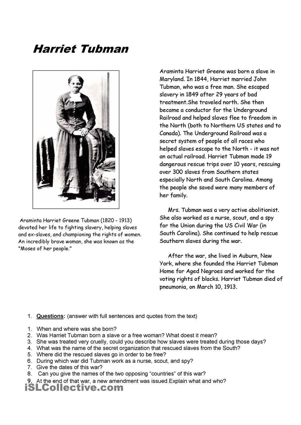 worksheet Harriet Tubman Worksheets harriet tubman teacher forms pinterest reading comprehension on one f the most famous slave who gained freedom and fought against slavery she was of the