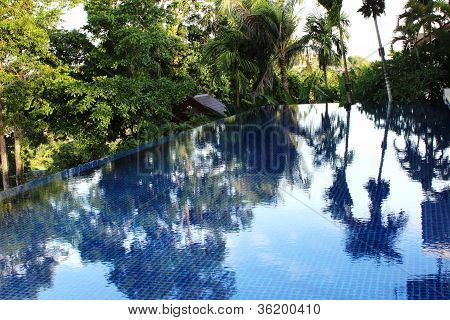 Swimming pool with blue color tiles