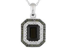 1.53ct Emerald Cut Moldavite, .11ctw White Topaz, .17ctw Green Diamond Silver Pendant With Chain