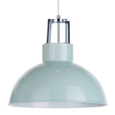 Litecraft 1 Light Industrial Parabolic Ceiling Pendant - Duck Egg | Debenhams