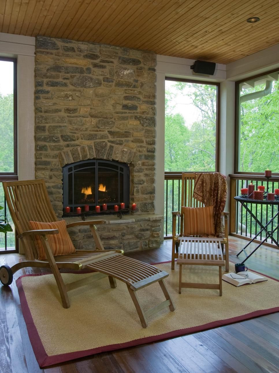 screened in porch with fireplace. Screened Porch With Fireplace In E