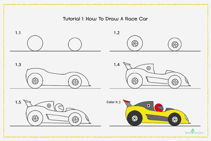 How To Draw A Car Step By Step For Kids Elementary Art How To