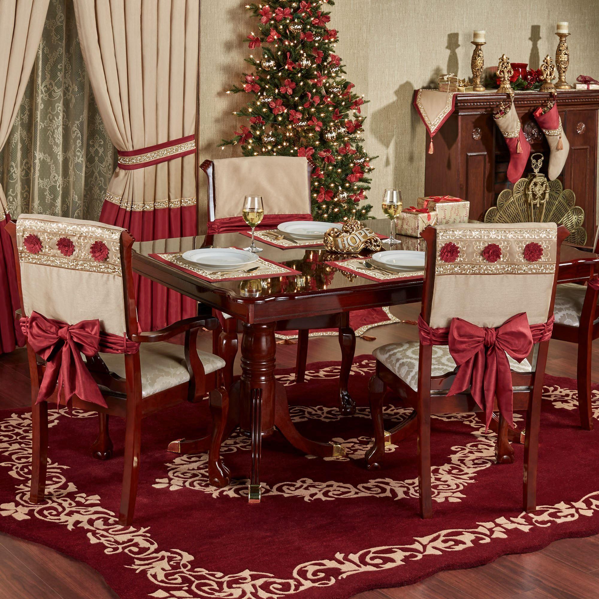 Prestige Chair Cover Set with Sash Ties  Christmas fireplace