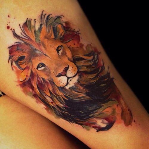 Resultado de imagen de watercolor tattoo lion