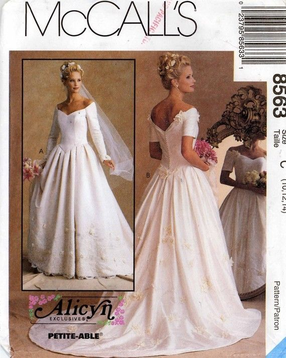 McCall\'s 8563 Miss Alicyn Exclusives Bridal Gown Pattern 6-10/10-14 ...