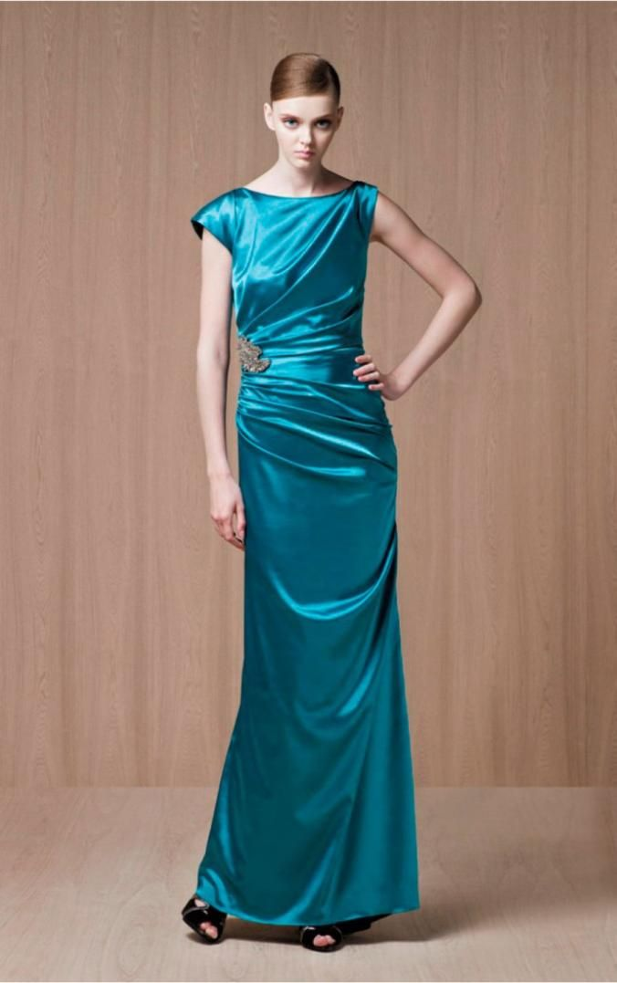 Bersun Evening Dresses 2014 Blue Satin Floor-Length Jewel Elegant Formal Dress Vestidos De Noche Designers abendkleider