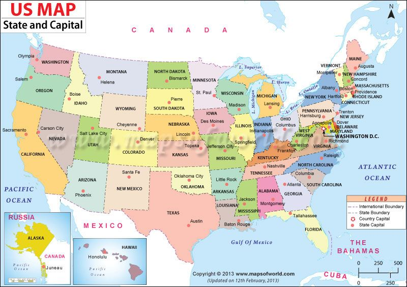 US #map shows the 50 states boundary their capital cities ...