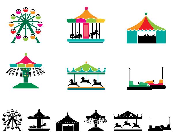 theme park attraction icons premium vector graphics