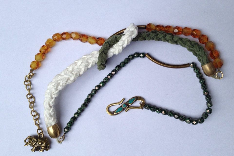 3Layered+Beaded+Bracelet+with+Brass+Accents+by+littleksshoppe,+$20.00