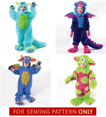bf2844cf3053 Sewing Pattern Make Monster Costumes Sizes Toddler 2 to Child 8 Boy... Nash  wants to be a monster this year!