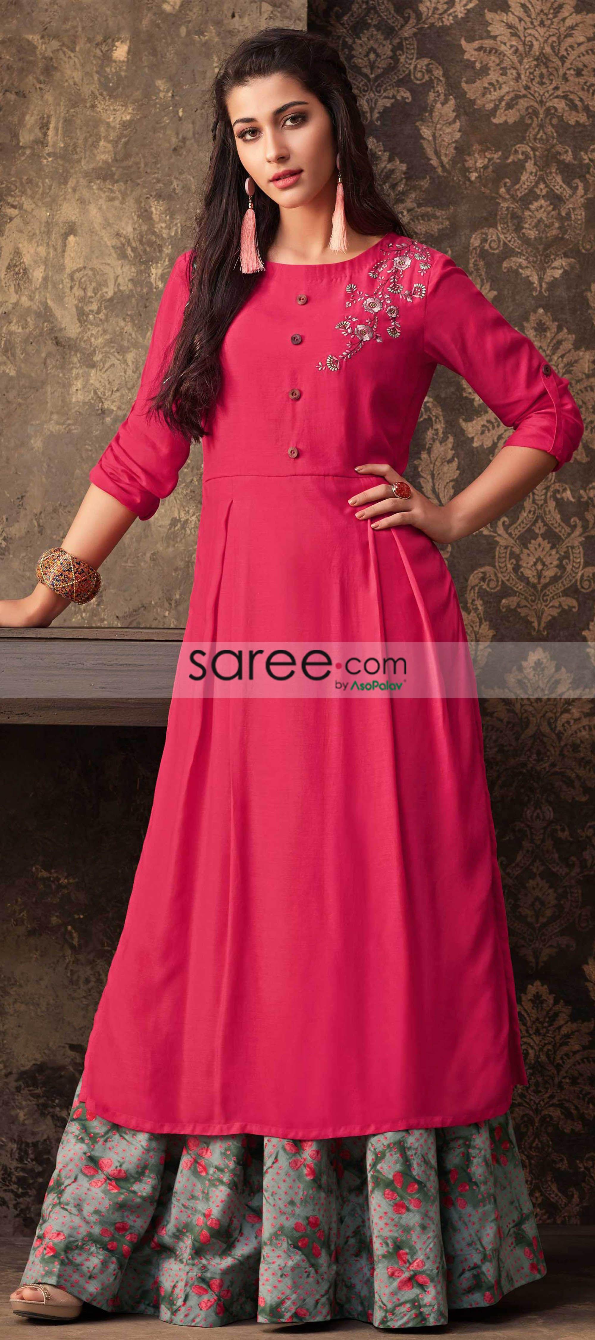 0a4f2717301d4 Dark Pink Muslin Cotton Kurti With Printed Skirt