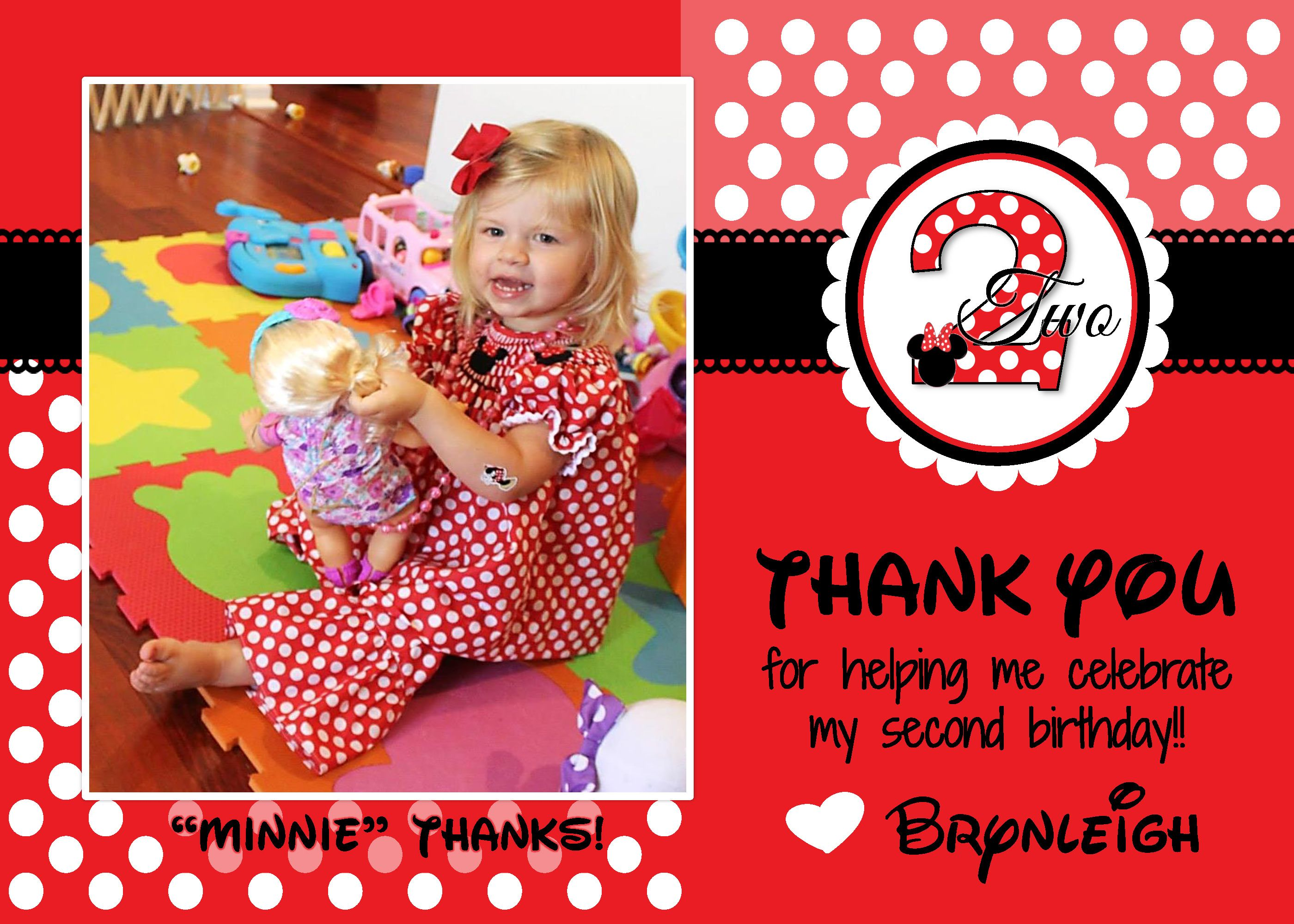 Minnie Mouse Birthday Party Thank You Card Brynleigh S Minnie