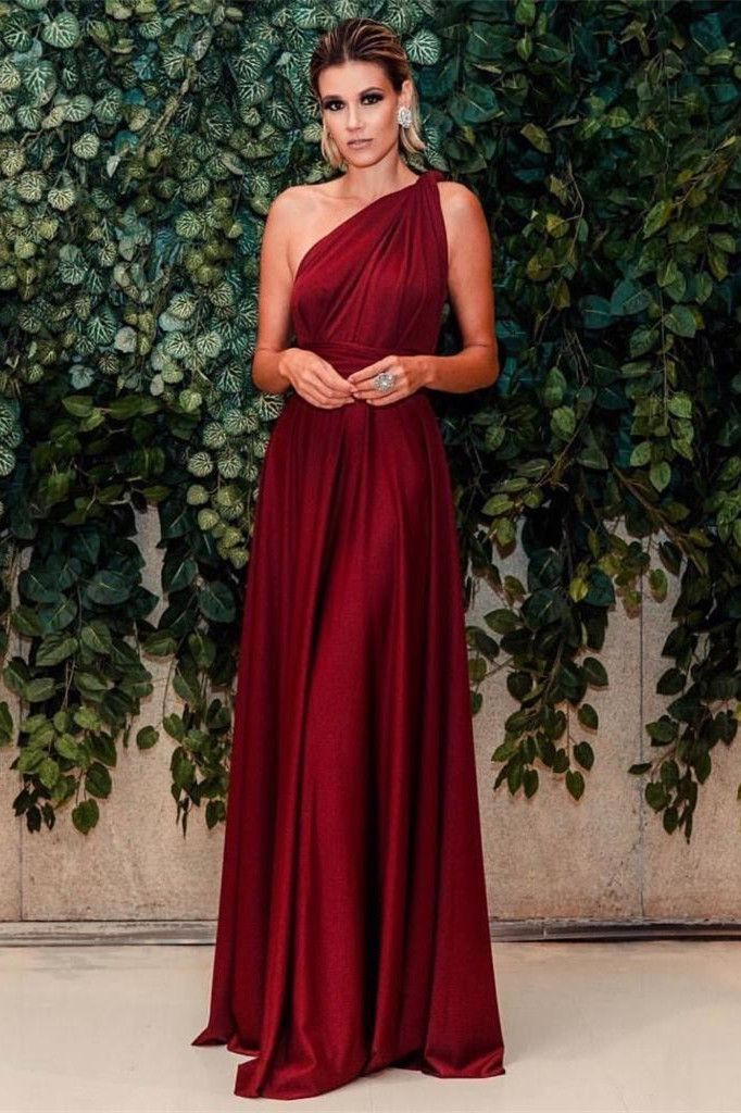 Photo of Generous One Shoulder Burgundy Floor-Length Prom Dress