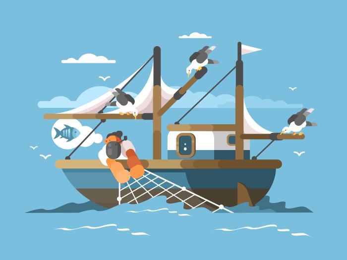 Fisherman Pulls Fishing Net Kit8 Boat Illustration Fish Illustration Boat Wallpaper